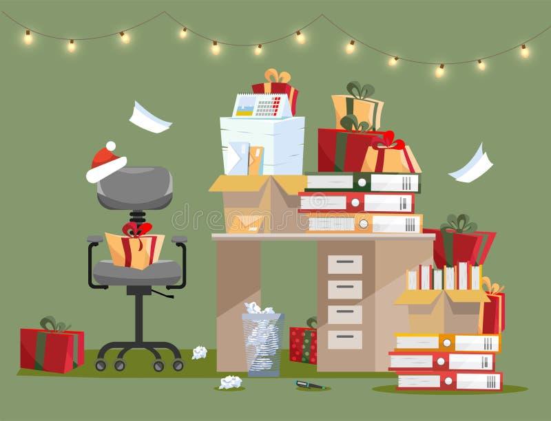 Intérieur de bureau avec la pile des cadeaux sur la table avec des documents dans les dossiers et des boîtes Les piles des docume illustration libre de droits
