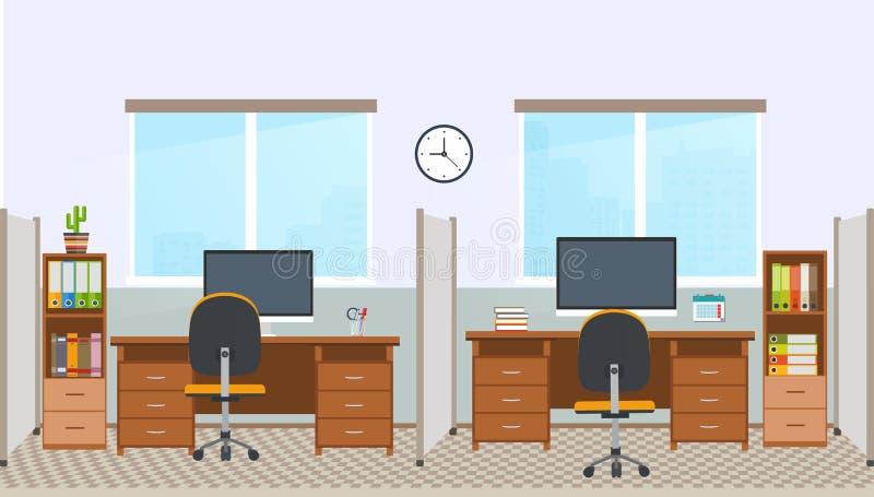 Intérieur de bureau avec le poste de travail Lieu de travail dans des bureaux illustration libre de droits