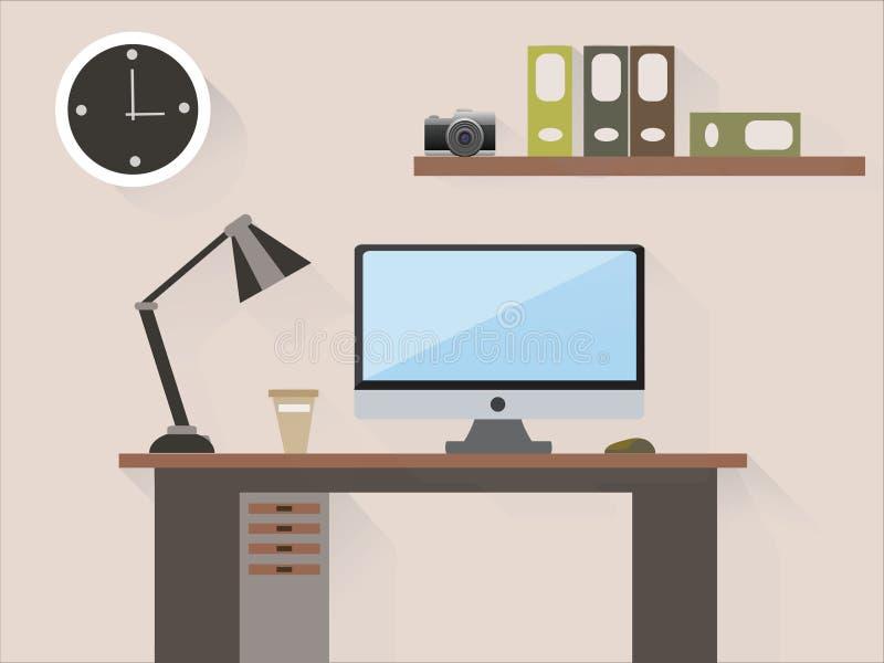Intérieur de bureau dans la chambre illustration de vecteur