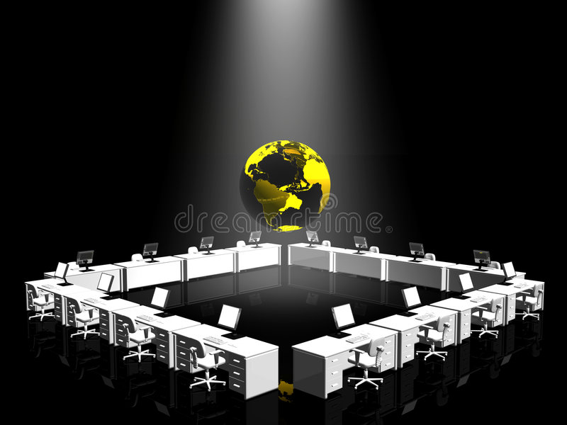 Intérieur de bureau, l'Internet. illustration libre de droits