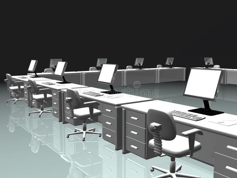 Intérieur de bureau, l'Internet. illustration de vecteur