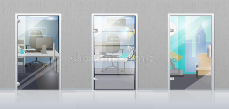 Intérieur de bureau par le vecteur plat de porte en verre illustration de vecteur