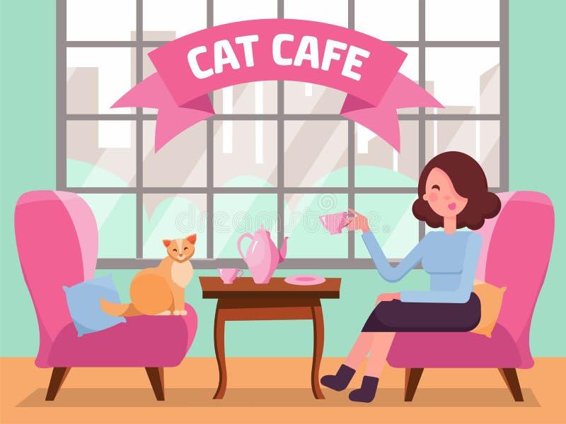 Intérieur de café de chat avec la grands fenêtre, femme et Kitty dans les arnchairs confortables, café sur la table Th? de fille  illustration de vecteur