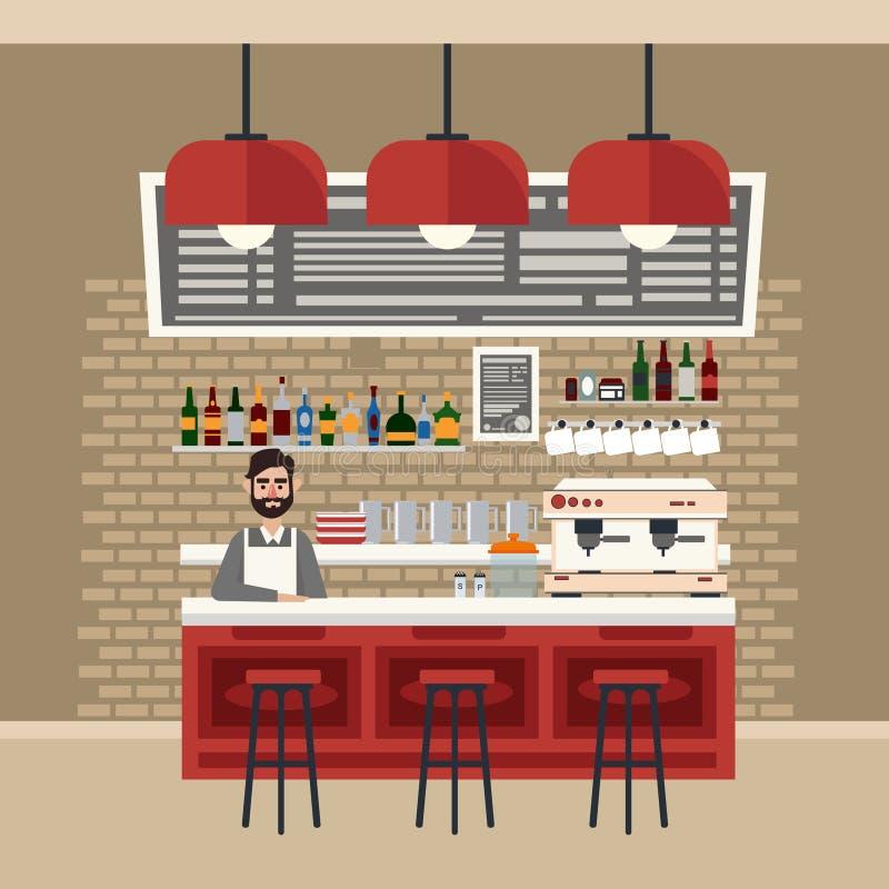 Intérieur de café Différentes boissons Générateur de café illustration stock