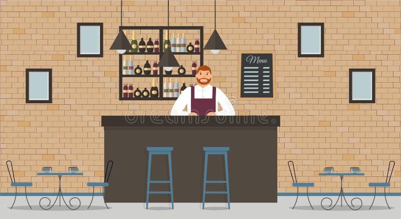 Intérieur de café ou de barre dans le style de grenier Compteur de barre, barman dans la chemise et le tablier blancs, tables, di illustration libre de droits