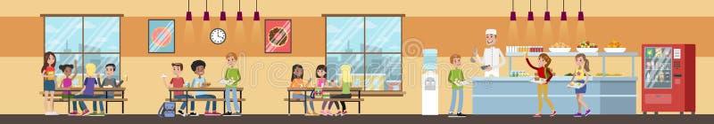 Intérieur de cafétéria de l'école illustration stock