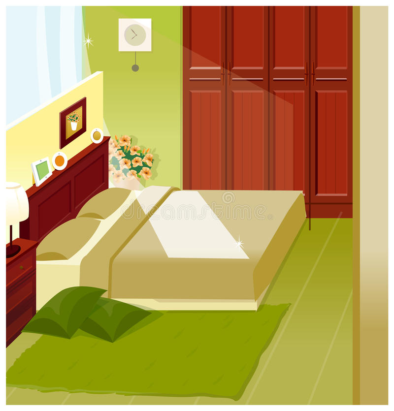 Intérieur de chambre à coucher illustration libre de droits
