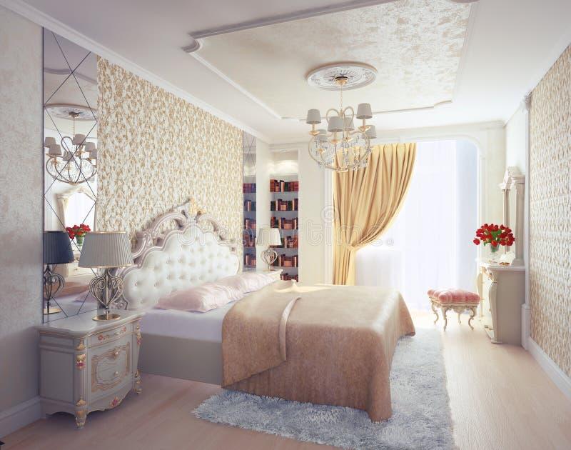 Intérieur de chambre à coucher illustration stock