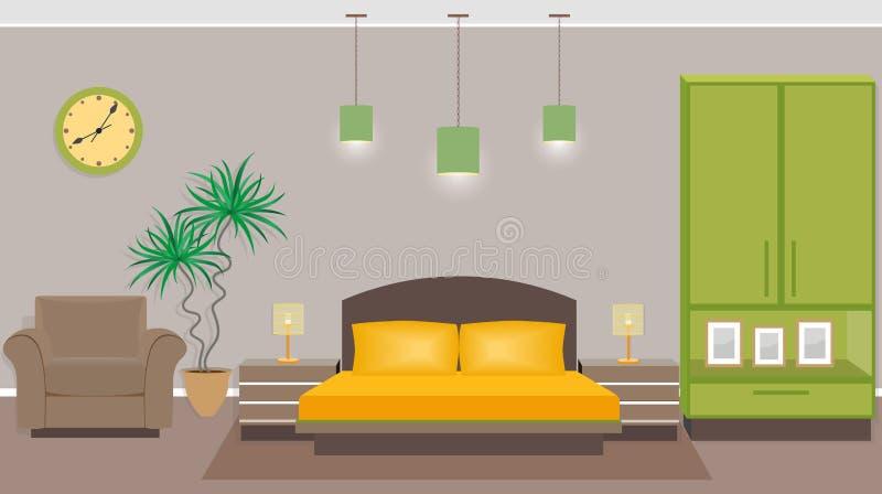 Intérieur de chambre à coucher avec des meubles comprenant le lit, fauteuil, wardrob illustration libre de droits