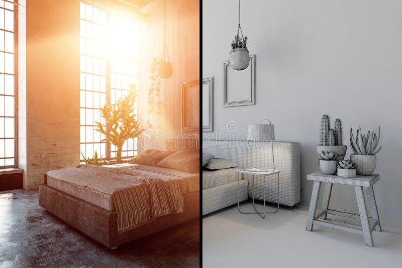 Intérieur de chambre à coucher avec l'effet noir et blanc illustration stock