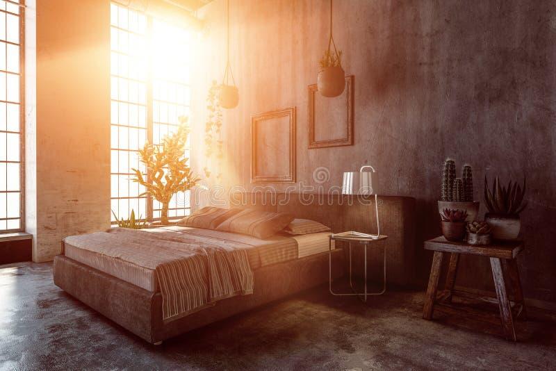 Intérieur de chambre à coucher avec la lumière chaude illustration stock