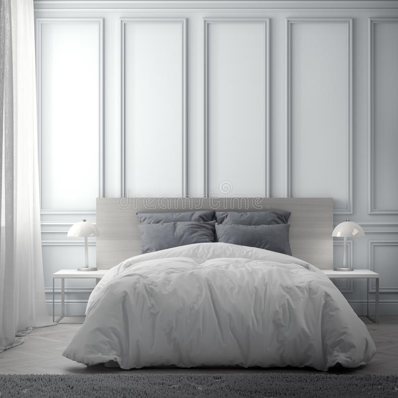 Intérieur de chambre à coucher avec le mur classique, rendu 3D illustration de vecteur