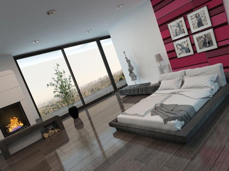 Intérieur de chambre à coucher avec le mur et la cheminée rouges illustration stock