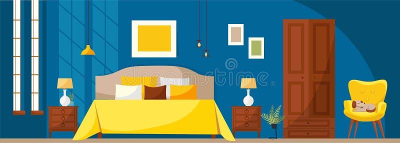 Intérieur de chambre à coucher avec un lit, des nightstands, une garde-robe, un fauteuil mou jaune, un mur bleu-foncé et des fenê illustration stock