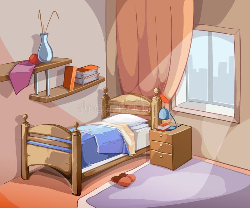 Intérieur de chambre à coucher dans le style de bande dessinée Vecteur illustration stock