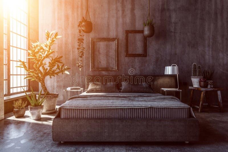 Intérieur de chambre à coucher foncée avec les murs gris illustration libre de droits