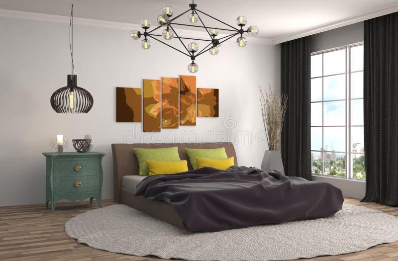 Intérieur de chambre à coucher illustration 3D illustration de vecteur