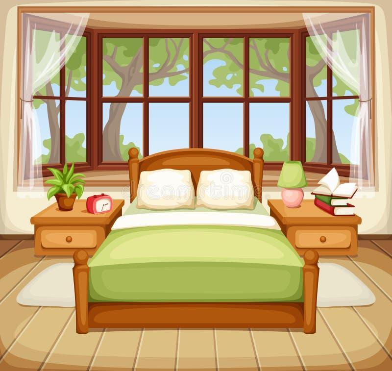 Intérieur de chambre à coucher Illustration de vecteur illustration libre de droits