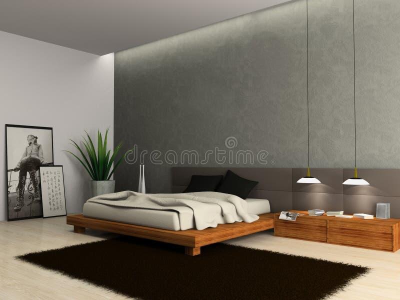 Intérieur de chambre à coucher moderne illustration libre de droits