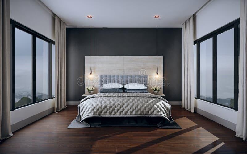 Intérieur de chambre à coucher, rendu 3d image stock