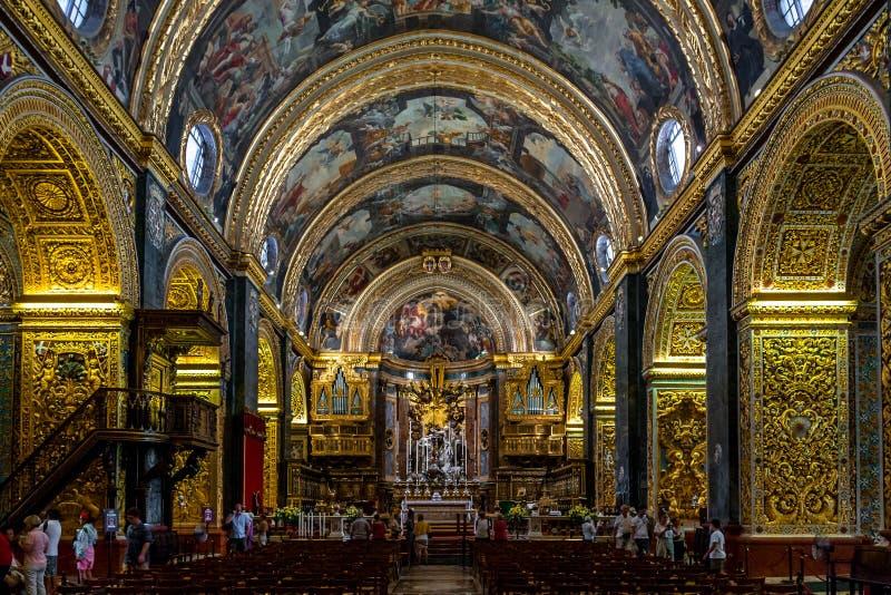 Intérieur de Co-cathédrale du ` s de St John - La Valette, Malte image libre de droits
