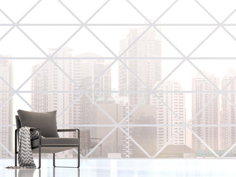 Intérieur de construction moderne avec la vue 3d de ville rendre illustration stock
