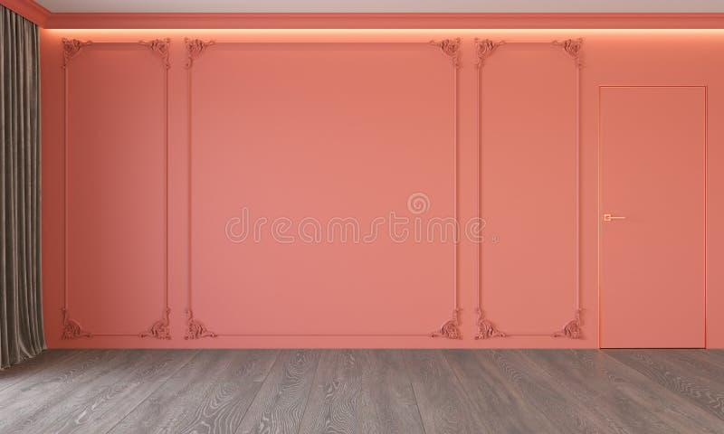Intérieur de corail vivant classique moderne avec le stuc, porte, plancher en bois, plafond éclairé à contre-jour, moulant illustration de vecteur