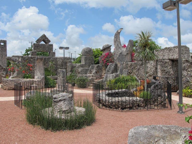Intérieur de Coral Castle en Floride, Etats-Unis images libres de droits