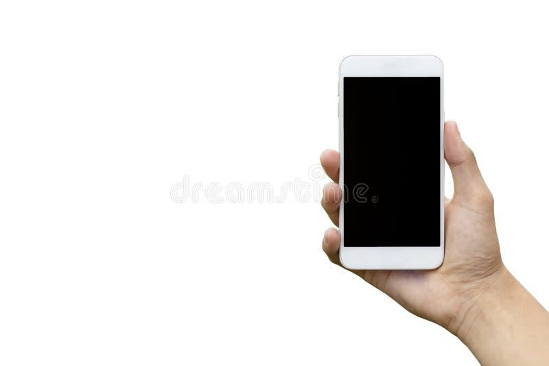 Intérieur de coupure de noir de téléphone de participation de main d'isolement sur le fond blanc photos stock