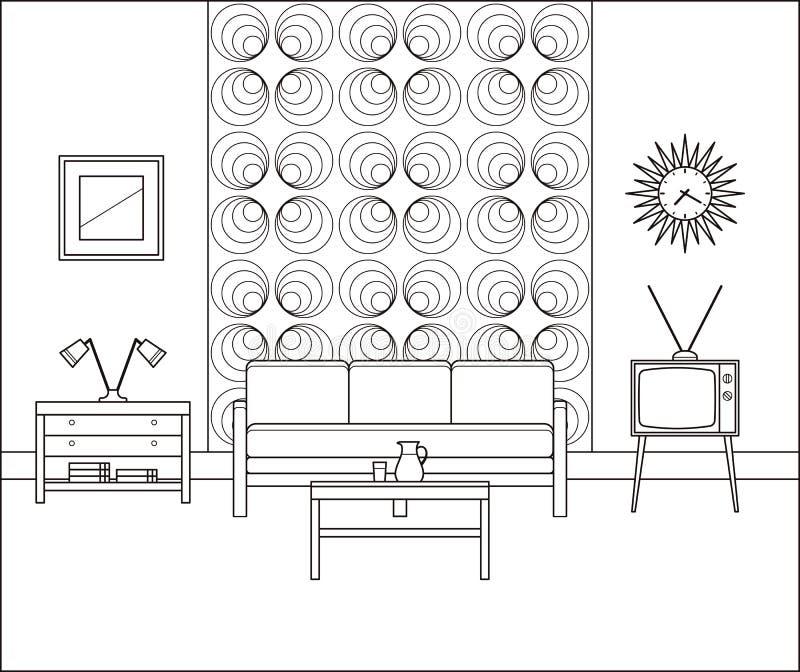 Intérieur de cru Salon linéaire Illustration de vecteur illustration stock