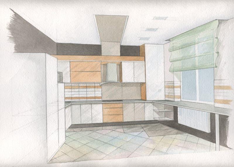 Intérieur de cuisine illustration stock
