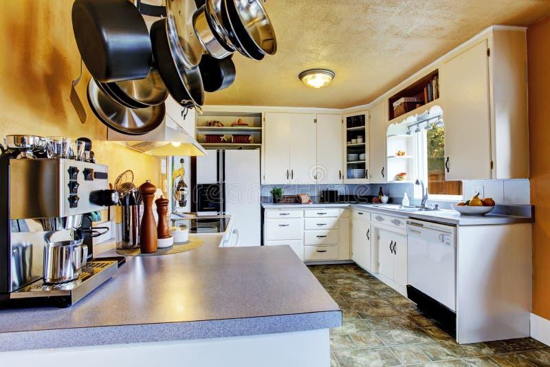 int rieur de cuisine avec les murs de p che et le linol um kaki image stock image du meubles. Black Bedroom Furniture Sets. Home Design Ideas