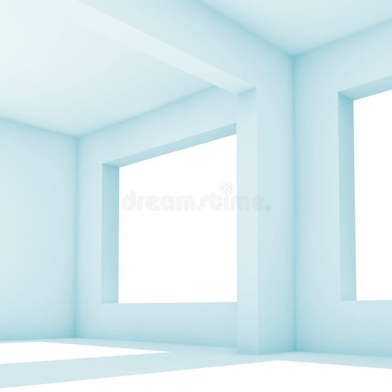 intérieur de 3 d Pièce blanche avec les fenêtres larges illustration de vecteur