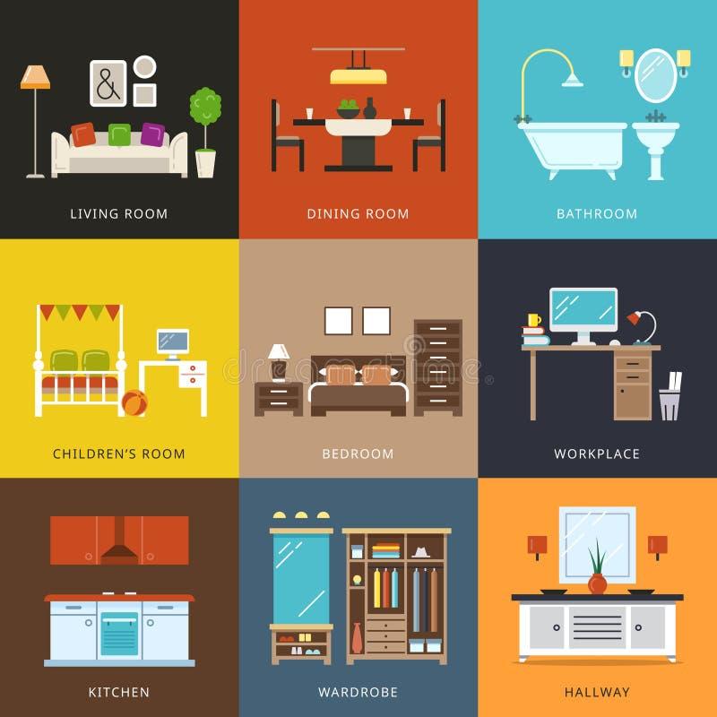 Intérieur de différents types de salles Illustration de vecteur dans le style plat illustration stock