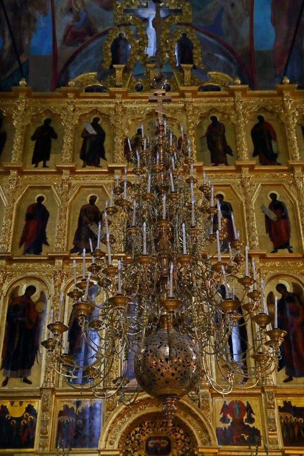 Intérieur de Dormition - cathédrale d'hypothèse dans la trinité Lavra photographie stock
