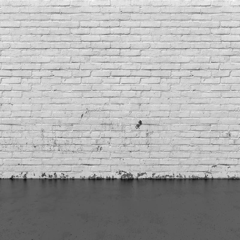 Intérieur de fond : mur de briques et plancher en béton photographie stock libre de droits