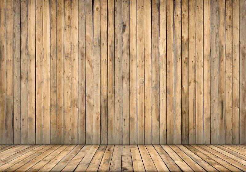 Intérieur de fond Mur et étage en bois photo stock