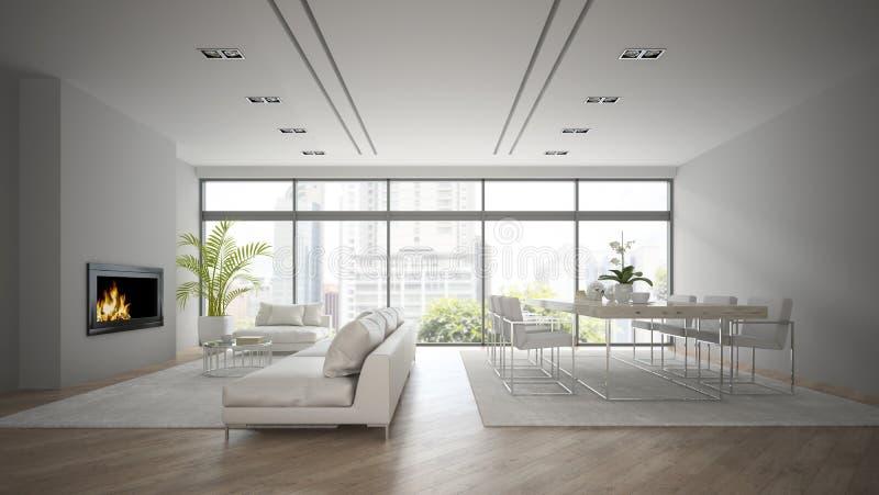 Intérieur de grenier de conception moderne avec le rendu de la cheminée 3D illustration stock
