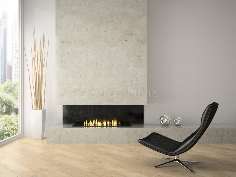 Intérieur de grenier de conception moderne avec le rendu de la cheminée 3D image stock