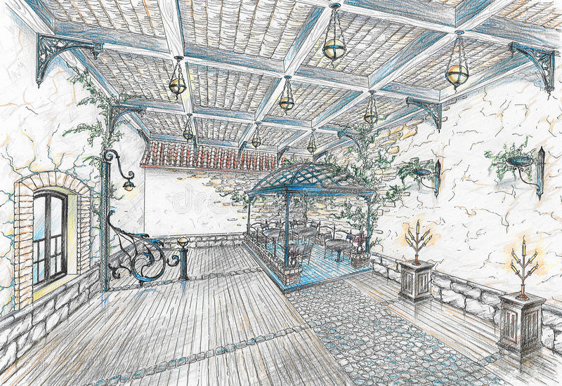 Intérieur de hall de restaurant dans le type du stree de ville illustration stock