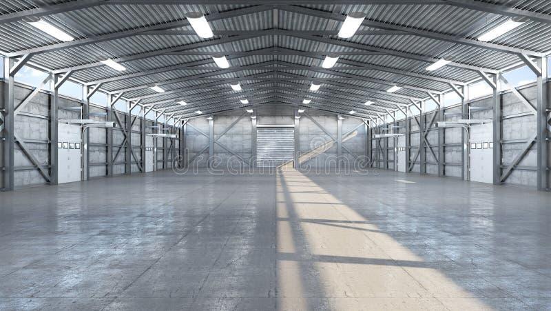 Intérieur de hangar avec la porte image libre de droits