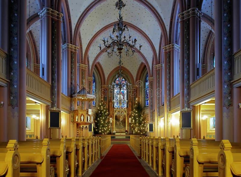 Intérieur de l'église centrale de Pori images stock