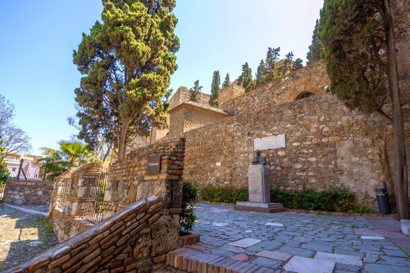 Intérieur de l'Alcazaba de Malaga, Espagne image libre de droits