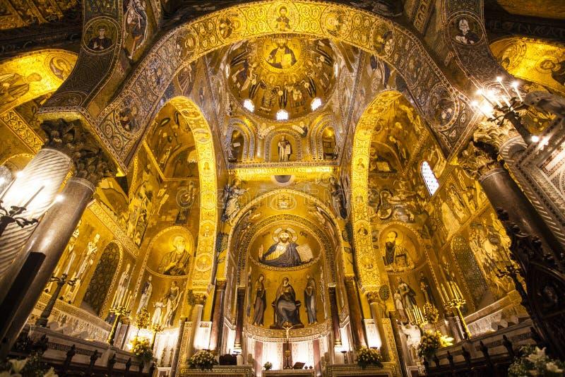 Intérieur de la Capella Palatina Chapel à l'intérieur du dei Normanni de Palazzo à Palerme, Sicile, Italie images stock