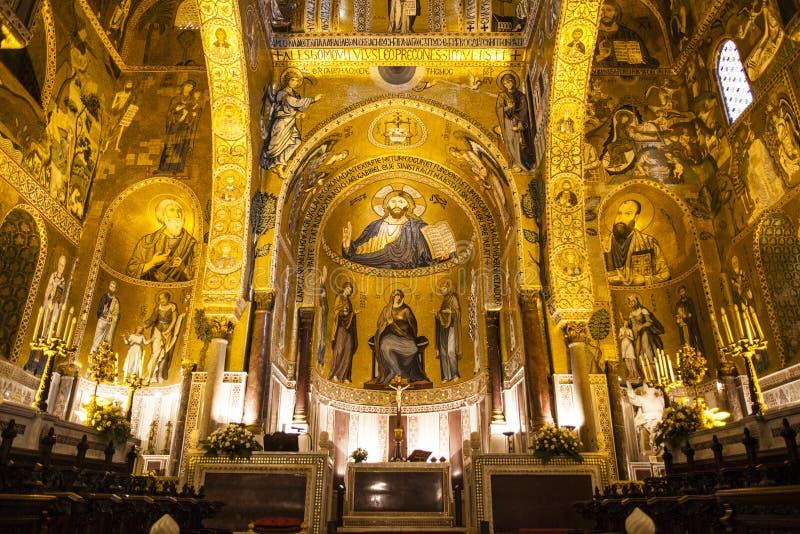 Intérieur de la Capella Palatina Chapel à l'intérieur du dei Normanni de Palazzo à Palerme, Sicile, Italie photo libre de droits