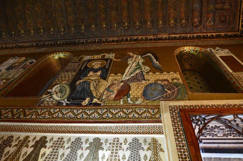 Intérieur de la Capella Palatina dans le dei de Palazzo Normanni Norman Palace - Palerme - Sicile - Italie images libres de droits