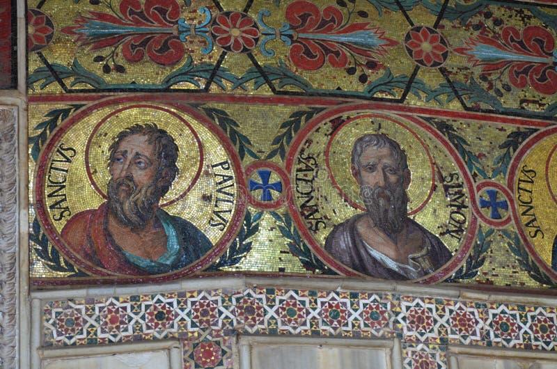 Intérieur de la Capella Palatina dans le dei de Palazzo Normanni Norman Palace - Palerme - Sicile - Italie image stock