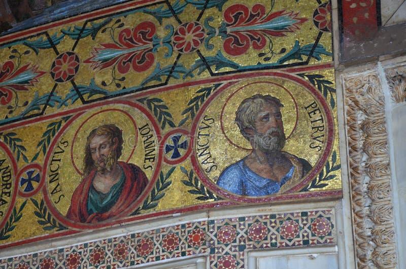 Intérieur de la Capella Palatina dans le dei de Palazzo Normanni Norman Palace - Palerme - Sicile - Italie image libre de droits