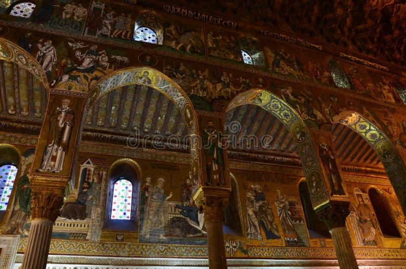 Intérieur de la Capella Palatina dans le dei de Palazzo Normanni Norman Palace - Palerme - Sicile - Italie photos libres de droits