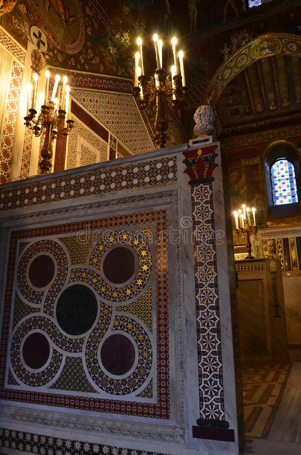 Intérieur de la Capella Palatina dans le dei de Palazzo Normanni Norman Palace - Palerme - Sicile - Italie images stock